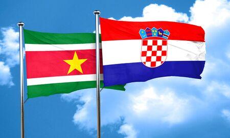 bandera de croacia: bandera de Surinam con la bandera de Croacia, 3D