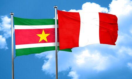 bandera peru: bandera de Surinam con la bandera de Per�, 3D