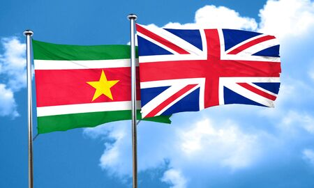 england politics: Suriname flag with Great Britain flag, 3D rendering