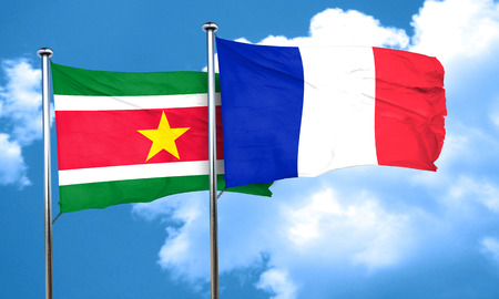 suriname: Suriname flag with France flag, 3D rendering Stock Photo