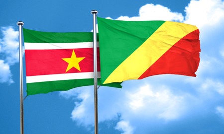 suriname: Suriname flag with congo flag, 3D rendering