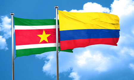 colombia flag: Suriname flag with Colombia flag, 3D rendering