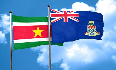 cayman: Suriname flag with Cayman islands flag, 3D rendering