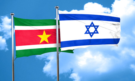suriname: Suriname flag with Israel flag, 3D rendering Stock Photo
