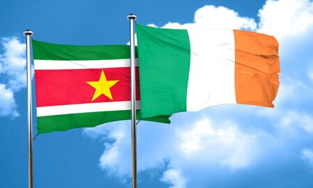 suriname: Suriname flag with Ireland flag, 3D rendering