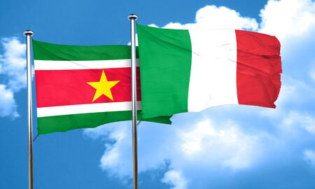 suriname: Suriname flag with Italy flag, 3D rendering Stock Photo