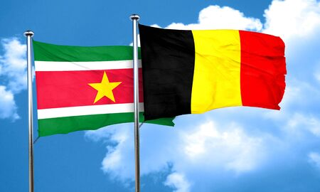 suriname: Suriname flag with Belgium flag, 3D rendering Stock Photo