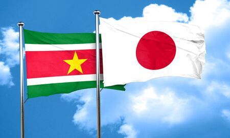 suriname: Suriname flag with Japan flag, 3D rendering