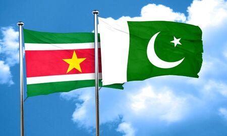 pakistan flag: Suriname flag with Pakistan flag, 3D rendering Stock Photo