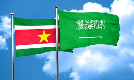 suriname: Suriname flag with Saudi Arabia flag, 3D rendering Stock Photo