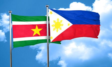 suriname: Suriname flag with Philippines flag, 3D rendering