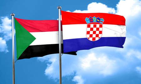 bandera croacia: bandera de Sud�n con la bandera de Croacia, 3D Foto de archivo
