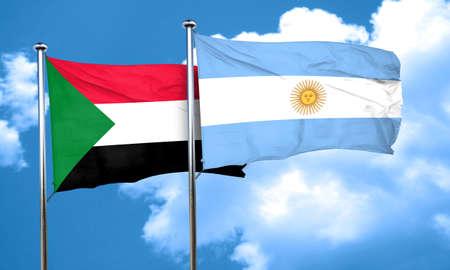 argentine: Sudan flag with Argentine flag, 3D rendering