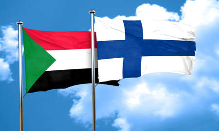 finland flag: Sudan flag with Finland flag, 3D rendering