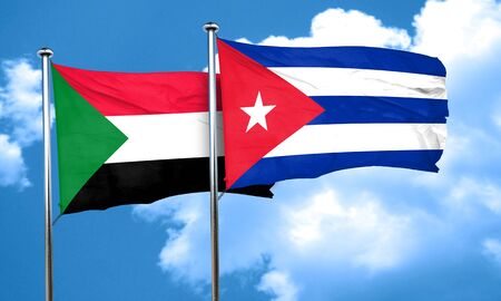 cuba flag: Sudan flag with cuba flag, 3D rendering