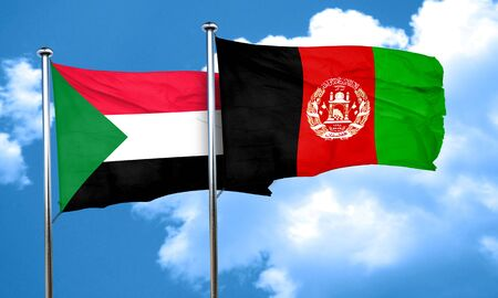 afghan: Sudan flag with afghanistan flag, 3D rendering