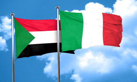 italian culture: Sudan flag with Italy flag, 3D rendering Stock Photo