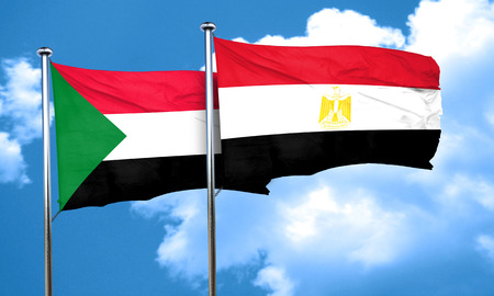 egypt flag: Sudan flag with egypt flag, 3D rendering