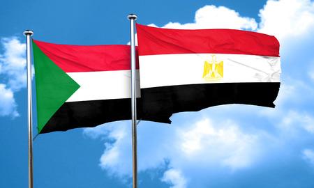 egypt flag: Sudan flag with egypt flag, 3D rendering