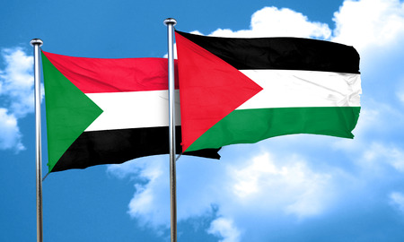 palestine: Sudan flag with Palestine flag, 3D rendering Stock Photo