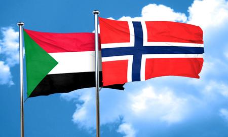 norway flag: Sudan flag with Norway flag, 3D rendering