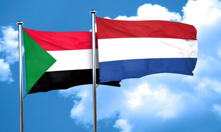 netherlands flag: Sudan flag with Netherlands flag, 3D rendering