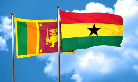 ghanese: Sri lanka flag with Ghana flag, 3D rendering