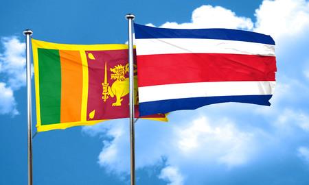 rican: Sri lanka flag with Costa Rica flag, 3D rendering