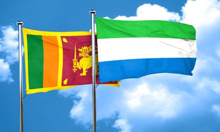 leone: Sri lanka flag with Sierra Leone flag, 3D rendering Stock Photo