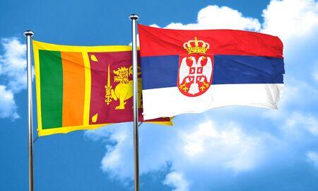 serbia flag: Sri lanka flag with Serbia flag, 3D rendering