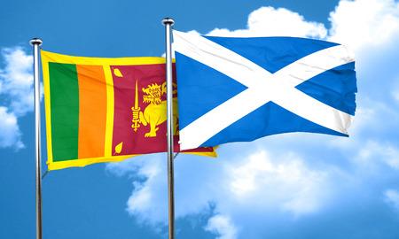 sri: Sri lanka flag with Scotland flag, 3D rendering