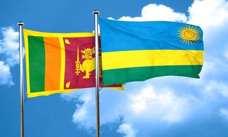 rwanda: Sri lanka flag with rwanda flag, 3D rendering Stock Photo