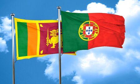 sri: Sri lanka flag with Portugal flag, 3D rendering