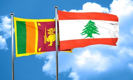 lebanon: Sri lanka flag with Lebanon flag, 3D rendering Stock Photo