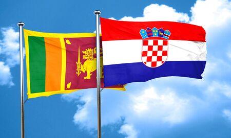 bandera croacia: bandera de Sri Lanka con la bandera de Croacia, 3D Foto de archivo