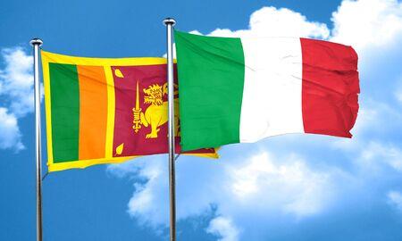 sri: Sri lanka flag with Italy flag, 3D rendering Stock Photo