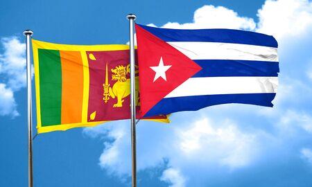 bandera cuba: bandera de Sri Lanka con la bandera de Cuba, 3D