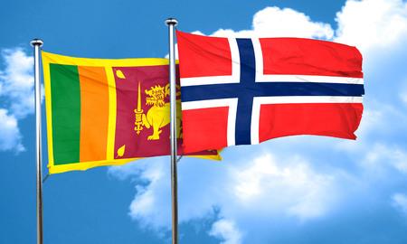 sri: Sri lanka flag with Norway flag, 3D rendering