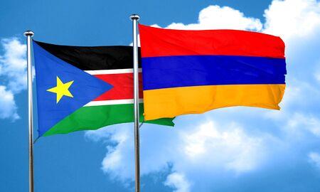 armenia: south sudan flag with Armenia flag, 3D rendering