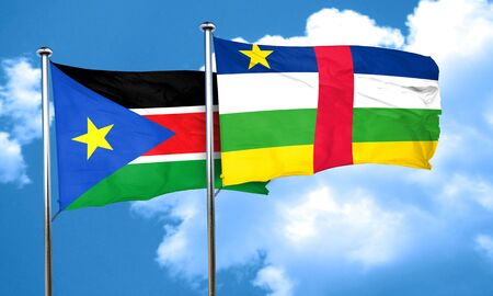 central african republic: south sudan flag with Central African Republic flag, 3D rendering Stock Photo