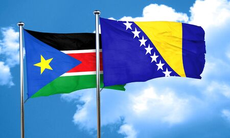 bosnia: south sudan flag with Bosnia and Herzegovina flag, 3D rendering