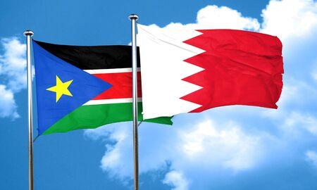 amity: south sudan flag with Bahrain flag, 3D rendering
