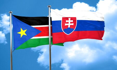 slovakia flag: south sudan flag with Slovakia flag, 3D rendering