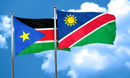 namibia: south sudan flag with Namibia flag, 3D rendering Stock Photo