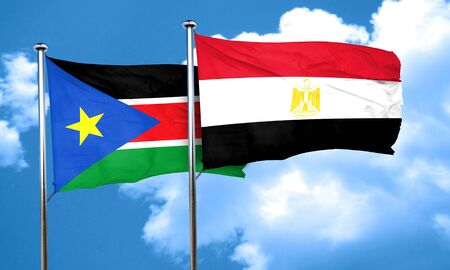 bandera egipto: south sudan flag with egypt flag, 3D rendering Foto de archivo