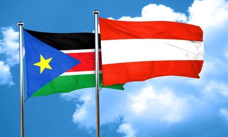 austria flag: south sudan flag with Austria flag, 3D rendering Stock Photo