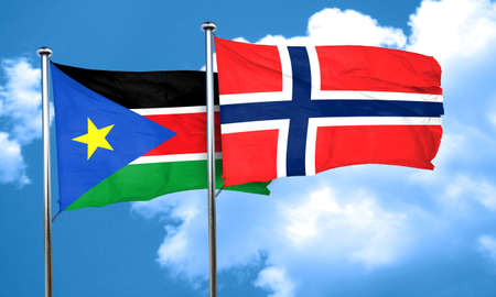 norway flag: south sudan flag with Norway flag, 3D rendering Stock Photo