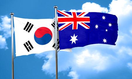 korea flag: South korea flag with Australia flag, 3D rendering Stock Photo