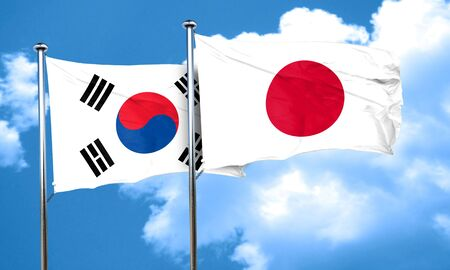 nationality: South korea flag with Japan flag, 3D rendering