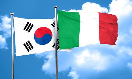 korea flag: South korea flag with Italy flag, 3D rendering
